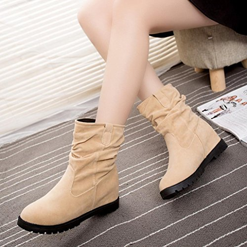 bottes de femmes,Transer® Femmes Wedge Ankle Flat Bottes Chaussures Plateforme Tube Chaussures Beige