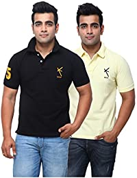 Yross Men's Cotton Polo Neck Black & Lemon T-shirt Combo (Pack Of 2)