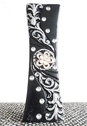 Homestreet Vases Moderne en céramique Motif fleurs strass et paillettes en noir ou blanc 30 cm