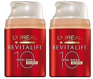 LOT 2 X L'Oréal BB Crème Total Repair 10 Revitalift Spf 20 - CREME CLAIR - 2 X 50 ml