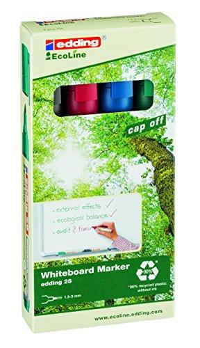 edding 28 Eco Line Whiteboard Marker - 4er Set - Schwarz, Rot, Blau, Grün - Zum Beschriften von geschlossenen Oberflächen, wie z.B. Whiteboard, Glas - Abwischbar