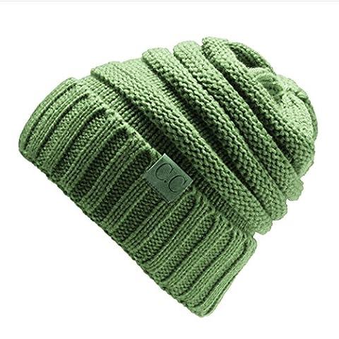 CRAVOG warme Feinstrick Beanie Mütze mit Flecht Muster und sehr weichem Fleece Innenfutter, Unisex