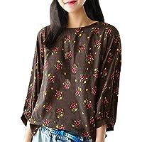 Damen T Shirt,Geili Frauen Damen Vintage Blumendruck Lose Langarm Rundhals Baumwolle und Leinen T Shirt Bluse... preisvergleich bei billige-tabletten.eu