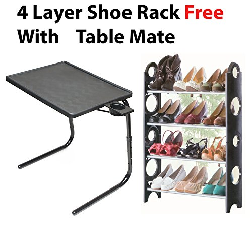 Sunshine Table-Mate Adjustable Folding Personal Dinner, Bed, TV, Laptop, and Snack Table with Cup Holder With Foldbale Shoe Rack 4 layer 51hF851mt4L