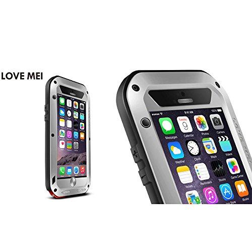 Love Mei Wasserdicht für Apple iPhone 6Plus 6+ (14cm), Aluminium Legierung Gorilla Metall Fall Mit Display Schutz silber