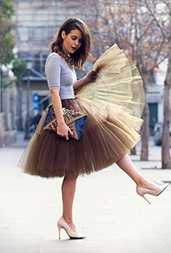 WOW Factors® Damen Tüllrock Ballettrock Tutu Prinzessin Petticoat Unterrock Pettiskirt Orange