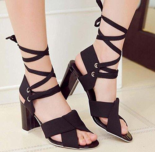Beauqueen Pompe Sandali Casual primavera-estate donne Scrub cravatta cinghie tacco medio semplici scarpe eleganti Nero Bianco Europa formato 34-39 White