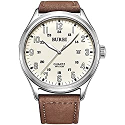 BUREI® Men's Luminous Date Waterproof Quartz Watch with Brown Genuine Leather Strap, White Dial
