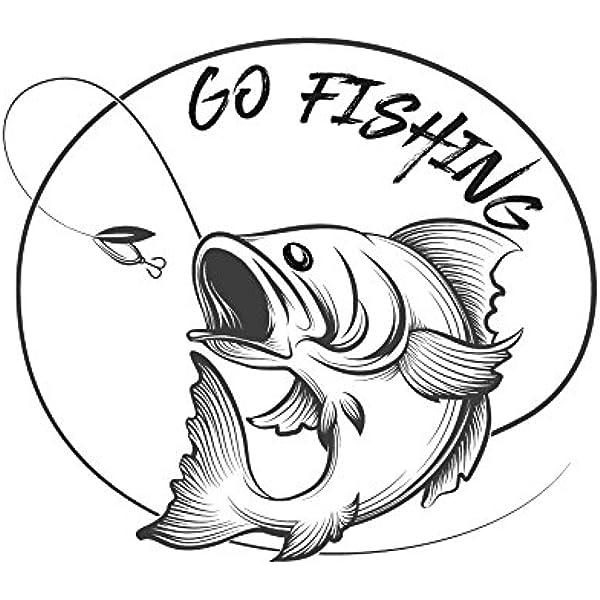 Go Fishing Aufkleber Sticker Angeln Fischen Auto