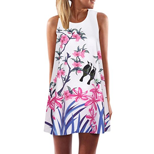 VEMOW Vintage Boho Frauen Sommerkleider Sleeveless Strand Gedruckt Kurzes Minikleid Eine Linie Abendkleid Täglich beiläufige Partei Weste T-Shirt Kleid Plus Size Rock(X1Weiß 9, EU-40/CN-S)