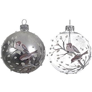 Quality Juego de 2 Bolas de Navidad de Cristal Redondas, Color Plateado Mate y Transparente, decoración para árbol de Navidad, 8 cm