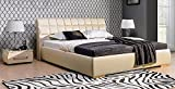 Design Luxus Lounge Polsterbett Doppelbett Futon-Bett Leder Beige SL30 NEU!