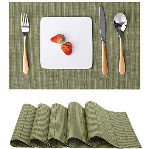 Myir tovagliette americane lavabili plastica, tovagliette non-scivolose resistenti al calore, set da 6 tovagliette per tavolo da cucina (verde)