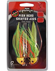 Fox Rage Fish Head Skirted Jigs Jigköpfe Fransen Gummiköder, Farbe:Firetiger;Gewicht:17g;Größe:4/0