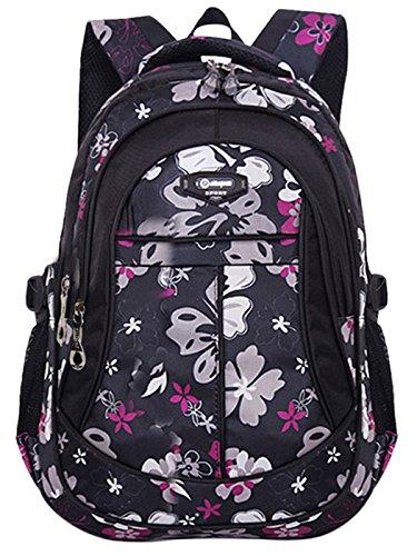 Happy Cherry Schulrucksack Blumen Schulranzen Schultasche Sports Rucksack Freizeitrucksack Daypacks Backpack für Mädchen Jungen Kinder Damen Herren Jugendliche-Pink Schwarz 1
