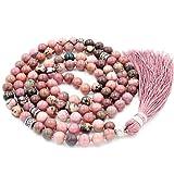 Edelstein Mala Perlen Halskette, mala Armband, buddhistische gebetsperlen, verknotete perlenkette, Rhodonite Mala Perlen