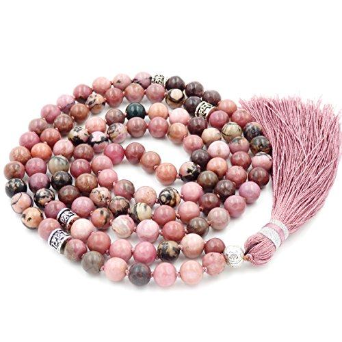 Mala Budista, Gema Mala Beads Collar/Pulsera, Buddist Mala Collar/Pulsera, Anudado Collar, Rodonita Mala