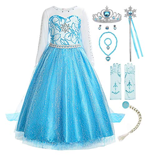 ReliBeauty Mädchen Prinzessin Schneeflocke Süßer Ausschnitt Kleid Kostüme, Blau(mit Zubehör), 110-116(Etikett - Kostüm Mit Blauen Kleid