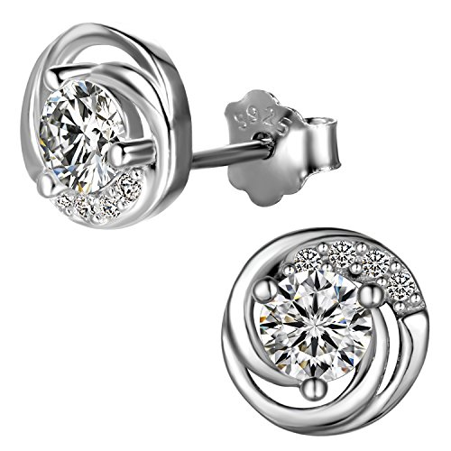 aroncent Women 925 Silver Mosaic Zirconia Earrings For Valentine's Day/Christmas/Birthday Gift