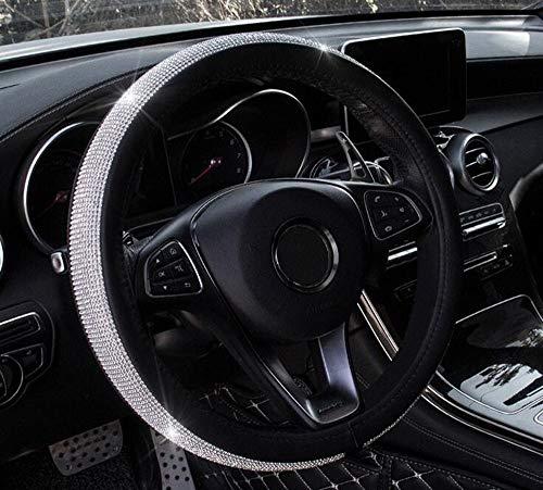 BTHDPP Universal Auto Lenkradabdeckung Volle Bling Bling Strass Leder Lenkradabdeckung Auto Interior Car Styling Auto Zubehör-38 cm / 15 '' (Schwarz) Voller Bling
