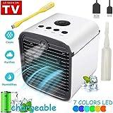 Climatiseur Mobile Air Mini Cooler - Rafraichisseur d'air & Ventilateur, 3-en-1 Portable Climatiseur Humidificateur Purificateur, Leakproof, New Filter Paper