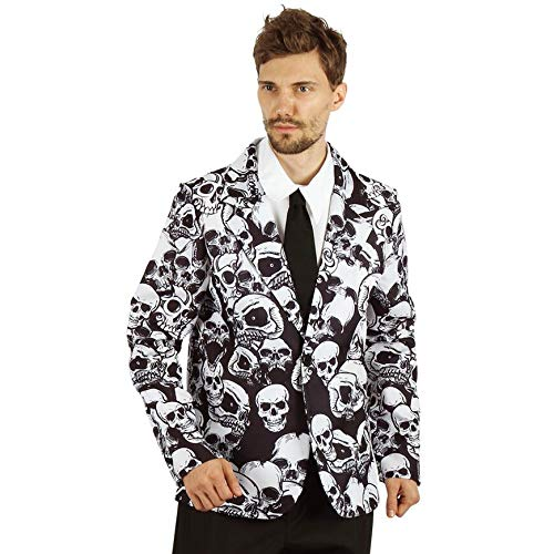 U LOOK UGLY TODAY Halloween Kostüm Herren Totenkopf Muster Jacke Anzug Blazer Verkleidungsparty Dress-up Party- M/L - 56