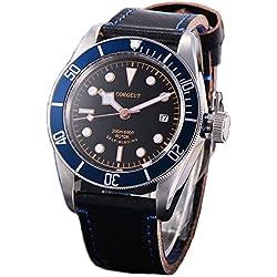 41MM Miyota Automatik Saphirglas Uhr für Herren blau Aluminium Lünette