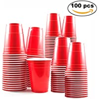 100 Vasos Rojos Desechables de 16oz – Accesorio de Fiesta para Celebración de Navidad y Cumpleaños – Articulo de Vajilla y Menaje Ideal para Juego Americano de Beer Pong – Apoyo de Decoración