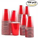 Confezione da 100 pezzi - Bicchieri rossi usa e getta da 16 once - Perfetti per Ping Pong Birra alle feste di Natale