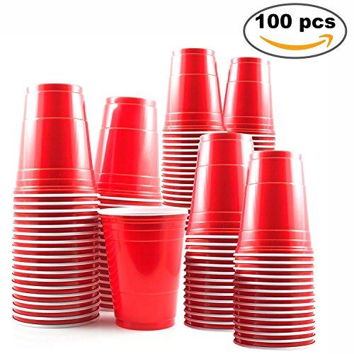 Lot de 100 - Gobelet jetables rouges de fête 16oz - parfait pour Beer Pong aux soirées de Noël