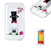 For Samsung Galaxy J1 Mini Prime Case [with Free Screen Protector], Funyye Crystal TPU Transparent Soft Silicone Ultra Thin Fashionable Pattern Cover for Samsung Galaxy J1 Mini Prime - Rose Puppy