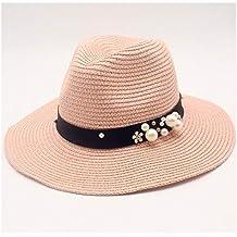 f71ff22d5690d Sombrero de paja tejido Moda dama de paja Sombrero para el sol perla  Decoración de flores
