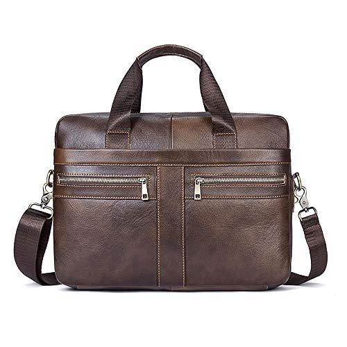 Ventiquattrore Uomo, BAGTECH Briefcase Leather per 14 Pollici Laptop Borsa Tracolla Vera Pelle Vintage (Caffè Marrone)