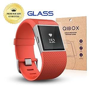 qibox transparents Premium HD Film de protection d'écran en verre trempé pour Fitbit Surge Fitness superwatch-9h Dureté multi-layerexplosion-proof Air et film protecteur d'écran, 3 Pack