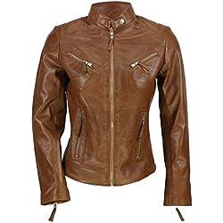 Cazadora vintage de Xposed de estilo motero para mujer, piel auténtica de color marrón Marrón marrón XXXXX-Large