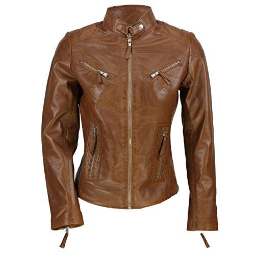 Cazadora vintage de Xposed de estilo motero para mujer, piel auténtica de color marrón Marrón marrón X-Large