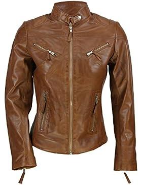 Nueva señoras de las mujeres suave Real piel Vintage ajustable marrón marrón estilo motero chaqueta talla S–...