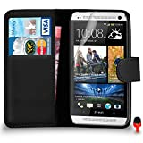 HTC One M7 Premium Leder Schwarz Mappen Schlag Fall Abdeckung Beutel + Rot 2 IN 1 Staubstopper + Screen Protector & Poliertuch SVL0 BY SHUKAN®, (Brieftasche Schwarz)