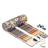 Amoyie Trousse à Crayon Enroulable pour 72 Crayons de Couleur, Toile Porte-Crayons Pochettes Rouleaux, Enveloppe de Crayon (Les Crayons ne sont Pas fournis), Chat Vert