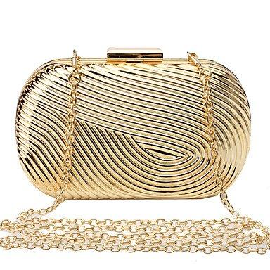 KYS L.WEST Woman Fashion Luxury High-grade Metal Box Geometric Evening Bag , gold