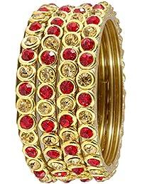 NMII Stylish & Trendy Red & Golden (Small) Ring Type Bangles Set For Women & Girls On Wedding,Festive,Everday...