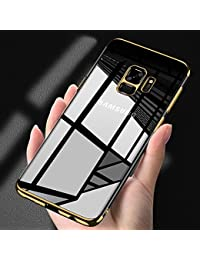 Samsung Galaxy S9 Clear Case,Samsung Galaxy S9 Silicone Case,EUWLY Luxury Electroplating Crystal Clear Case Slim Fit Anti-shock Transparent Case Cover Silicone Soft Case Gel Rubber Flexible TPU Soft Case Protective Cover Case Bumper Case Cover Shell Case for Samsung Galaxy S9 + 1 x Blue Stylus Pen - Gold