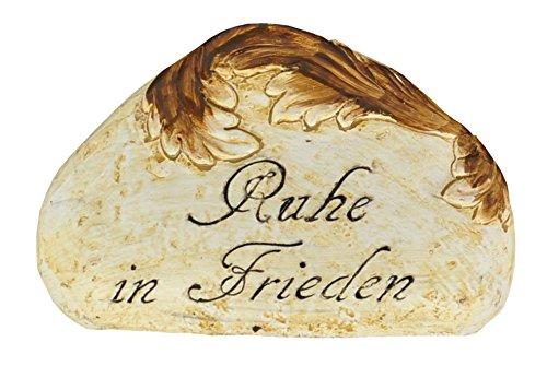 Grab-Spruchstein mit Rankenverzierung Aufschrift Grabschmuck Gedenkstein Deko, Spruch:Ruhe in Frieden