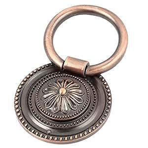 Cuivre ton ronde imprimé fleurs pendantes Bouton tiroir Placard Poignée de porte Tirer