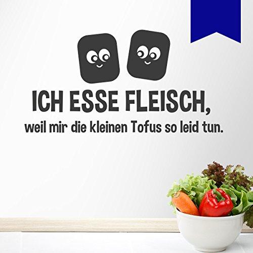 """WANDKINGS Wandtattoo """"Ich esse Fleisch, weil mir die kleinen Tofus so leid tun."""" 75 x 39 cm - Verkehrsblau - Wähle aus 5 Größen & 35 Farben"""