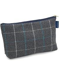 Blue Badge Company lujo Compruebe Hombres de artículos de tocador Case bolsa de lavado con forro impermeable, azul gris
