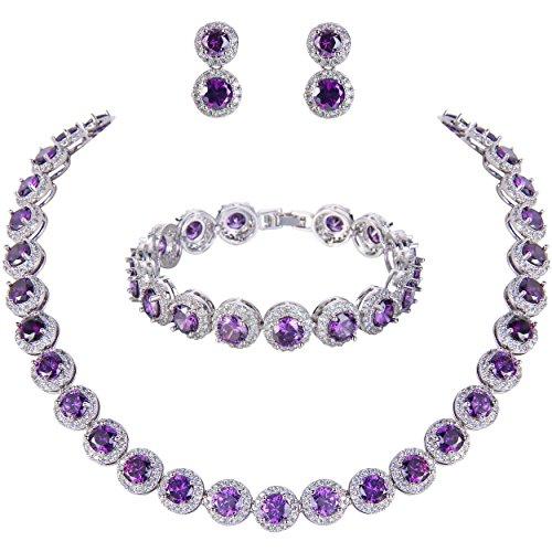 d Cut Cubic Zirconia Tennis Halskette Armband Ohrringe Set lila Silber-Ton ()