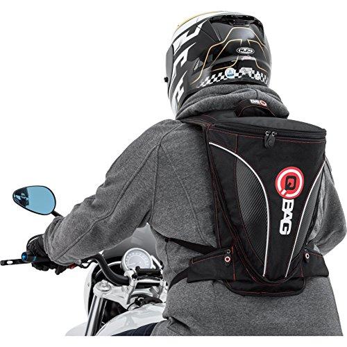 QBag Motorradrucksack Rucksack 13, sportlich, Visiertasche, 2 Einschubtaschen, Deckeltasche, 2 Außentaschen am Bauchgurt, aerodynamischer Anschluss an den Helm, Schwarz/Carbonlook, 7-12 Liter