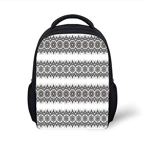 Kids School Backpack Henna,Black White Mandala Design Floral Elements Monochrome Tattoo Pattern South Asian,Black White Plain Bookbag Travel Daypack -