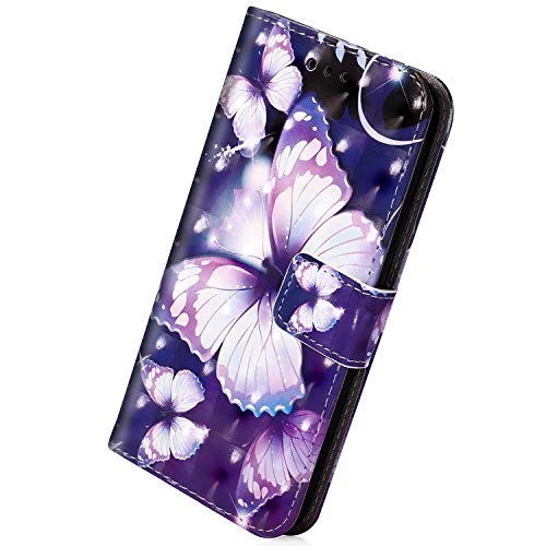 Herbests Kompatibel mit Huawei Honor 8X Glitzer Handy Hülle, Leder Flip Case Cover Klapphülle Handytasche Glänzend Leder Tasche Wallet Schutzhülle Magnetverschluss,Lila Schmetterling